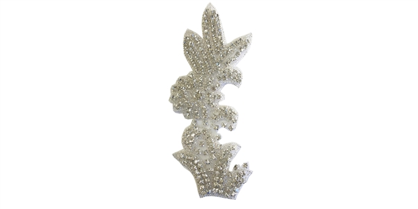 "RHS-APL-1338-SILVER.  RHINESTONE HOT-FIX APPLIQUE - 7 "" X 3 """