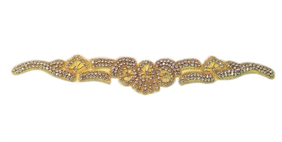 "RHS-APL-1376-GOLD.  CRYSTAL RHINESTONE APPLIQUE - 12.5"" x 1.75"""