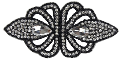 "RHS-APL-1493-BLACK.  Crystal Rhinestone Applique With Black Beads - 6"" x 3"""