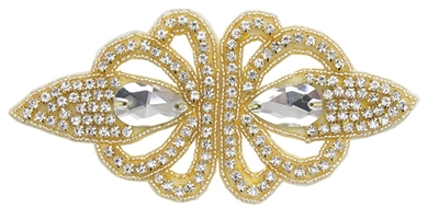 RHS-APL-1493-GOLD.  Crystal Rhinestone Applique