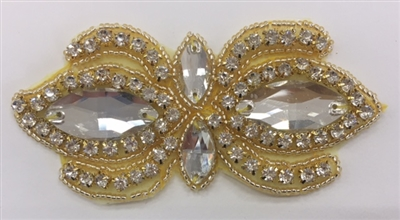 RHS-APL-1504-GOLD. CRYSTAL RHINESTONE APPLIQUE WITH CLEAR STONES AND GOLD BEADS- 2 X 4 INCHES