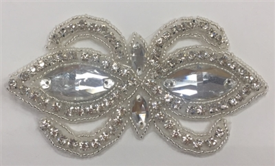 RHS-APL-1504-SILVER. CRYSTAL RHINESTONE APPLIQUE - 2 X 4 INCHES