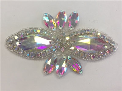 RHS-APL-1507-AB. CRYSTAL RHINESTONE APPLIQUE WITH AB STONES AND SILVER BEADS- 2 X 3.75 INCHES