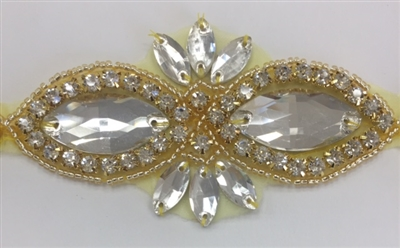 RHS-APL-1507-GOLD. CRYSTAL RHINESTONE APPLIQUE WITH CLEAR STONES AND GOLD BEADS- 2 X 3.75 INCHES