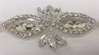 RHS-APL-1507-SILVER.  CRYSTAL RHINESTONE APPLIQUE - 2 X 3.75 INCHES