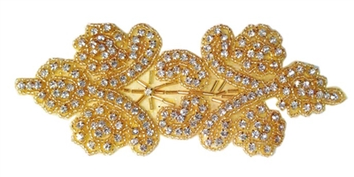 RHS-APL-1511-GOLD.  CRYSTAL RHINESTONE APPLIQUE