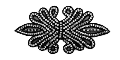 "RHS-APL-158-BLACK.  CRYSTAL RHINESTONE APPLIQUE WITH BLACK BEADS - 8"" X 4"""