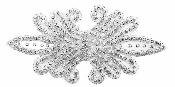 "RHS-APL-158-SILVER.  CRYSTAL RHINESTONE APPLIQUE WITH SILVER BEADS - 8"" X 4"""