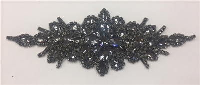 "RHS-APL-422-BLACKBLACK.  Black Crystal Rhinestone Applique - 9"" x 3"" - Black Crystals on Black Metal Backing"
