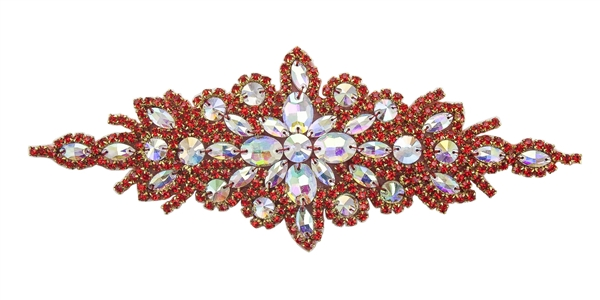 RHS-APL-422-RED.  Hot Fix / Sew-On Crystal Rhinestone Applique - AB and Red Crystals - 9 inch X 3 inch
