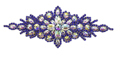 RHS-APL-422-ROYALBLUE.  Hot Fix / Sew-On AB-Crystal Rhinestone Applique - AB and Royal Blue Crystals - 9 inch X 3 inch