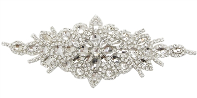 RHS-APL-422-SILVER.  Rhinestone Applique - 9 x 3 INCHES