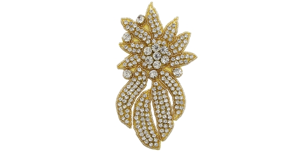 RHS-APL-468L-GOLD.  Crystal Rhinestone Applique - Large