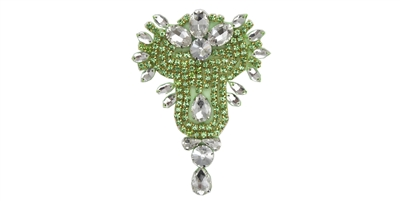 "RHS-APL-475-APPLEGREEN.  APPLEGREEN Crystal Rhinestone Applique - 3"" x 5"""