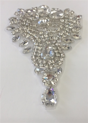 RHS-APL-475-CRYSTAL.  Clear Crystal Rhinestone Applique