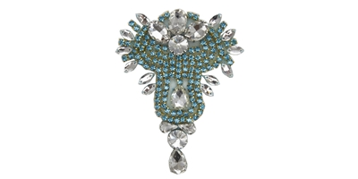 "RHS-APL-475-TURQUOISE.  TURQUOISE Crystal Rhinestone Applique - 3"" x 5"""