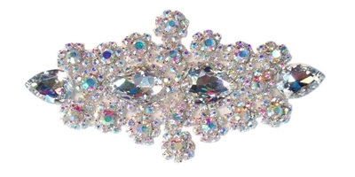RHS-APL-478-AB.  Rhinestone Applique - 7 x 3 Inches