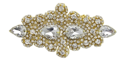 RHS-APL-478-GOLD.  Rhinestone Applique