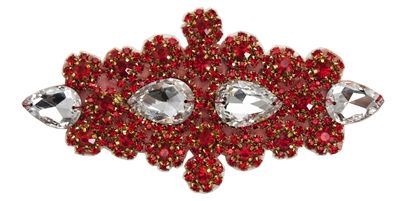 RHS-APL-478-RED.  MAX BLING Hot Fix / Sew-On Crystal Rhinestone Applique - Clear and Red Stones - 7 X 3 inches