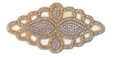 "RHS-APL-495-GOLD.  CRYSTAL RHINESTONE APPLIQUE - 7.5"" X 4"""