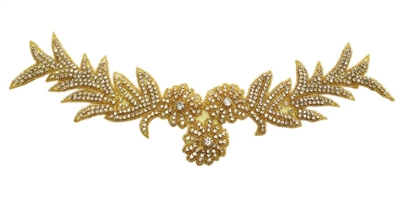 "RHS-APL-496-GOLD. Crystal Rhinestone Applique - Gold Beads - 17"" x 5"""