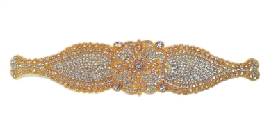 "RHS-APL-501-GOLD.  CRYSTAL RHINESTONE APPLIQUE - 13"" X 3"""