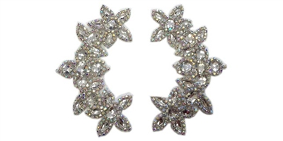"RHS-APL-511-PAIR-AB.  AB CRYSTAL RHINESTONE APPLIQUE PAIR.  6.5"" x 2.5"""