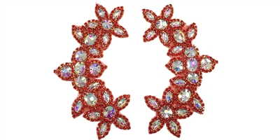 "RHS-APL-511-PAIR-RED.  CRYSTAL RHINESTONE APPLIQUE PAIR.  6.5"" x 2.5"""