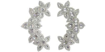 "RHS-APL-511-PAIR-SILVER.  CRYSTAL RHINESTONE APPLIQUE PAIR.  6.5"" x 2.5"""