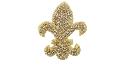 RHS-APL-528-GOLD.  CRYSTAL RHINESTONE APPLIQUE.
