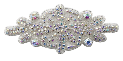 RHS-APL-530-AB.  AB RHINESTONE APPLIQUE.  6.25 X 3 INCHES