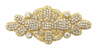 RHS-APL-530-GOLD.  CRYSTAL RHINESTONE APPLIQUE.  6.25 X 3 INCHES