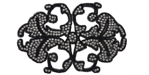 "RHS-APL-546-BLACK.  CRYSTAL RHINESTONE APPLIQUE - 8"" X 5"" - BLACK BEADS"