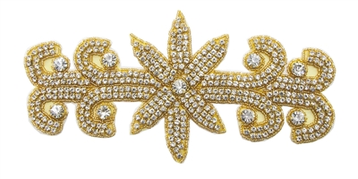 RHS-APL-571-GOLD. Hot Fix / Sew-On Clear Crystal Rhinestone Applique - 9 X 4 Inches