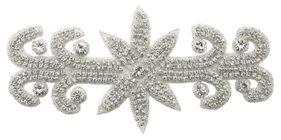 RHS-APL-571-SILVER. Hot Fix / Sew-On Clear Crystal Rhinestone Applique - 9 X 4 Inches