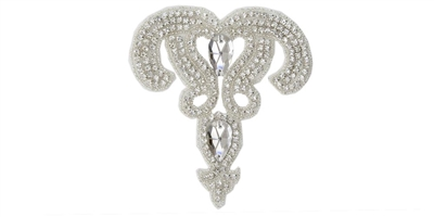 RHS-APL-580-SILVER.  Crystal Rhinestone Applique - 5 x 5 Inches