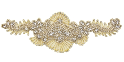RHS-APL-698-GOLD.  Sew-On Clear Crystal Rhinestone Applique - On Net - Gold Beads- 12 X 4 Inches