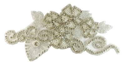 RHS-APL-706-SILVER.  Sew-On Clear Crystal Rhinestone Applique - On Net - Silver Beads- 9.5 X 5 Inches