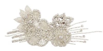 RHS-APL-708-SILVER.  Sew-On Clear Crystal Rhinestone Applique - On Net - Silver Beads- 8 X 3 Inches