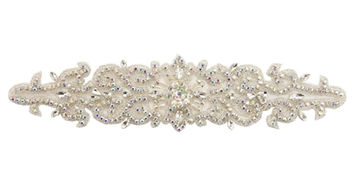 RHS-APL-737-AB.  Sew-On AB Crystal Rhinestone Applique - On Net - Silver Beads- 12 X 3 Inches