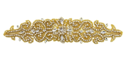 RHS-APL-737-GOLD.  Sew-On Clear Crystal Rhinestone Applique - On Net - Gold Beads- 12 X 3 Inches