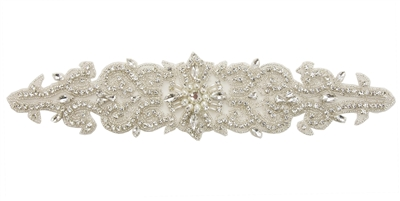 RHS-APL-737-SILVER.  Sew-On Clear Crystal Rhinestone Applique - On Net - Silver Beads- 12 X 3 Inches
