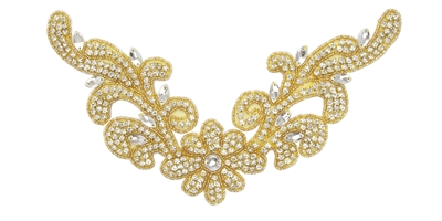 RHS-APL-740-GOLD.  Hot Fix / Sew-On Clear Crystal Rhinestone Applique - Clear Stone with Gold Beads