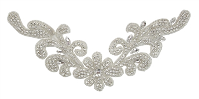 RHS-APL-740-SILVER. Hot Fix / Sew-On Clear Crystal Rhinestone Applique - Clear Stone with Silver Beads
