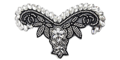 "RHS-APL-747-BLACK.  HOT-FIX CRYSTAL RHINESTONE APPLIQUE WITH BLACK BEADS - 11"" x 6"""