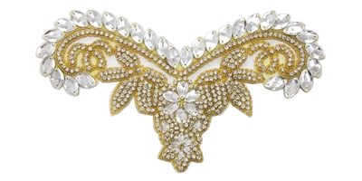 "RHS-APL-747-GOLD.  CRYSTAL RHINESTONE APPLIQUE WITH GOLD BEADS - 11"" x 6"""