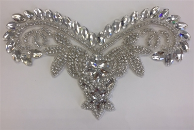 "RHS-APL-747-SILVER.  HOT FIX CRYSTAL RHINESTONE APPLIQUE WITH SILVER BEADS - 11"" x 6"""