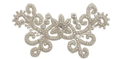 RHS-APL-781-SILVER.  Sew-On Clear Crystal Rhinestone Applique - On Net - Silver Beads- 8.5 X 4.5 Inches