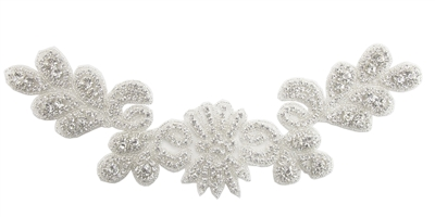 RHS-APL-786-SILVER.  Sew-On Clear Crystal Rhinestone Applique - On Net - Silver Beads - 13 X 4 Inches
