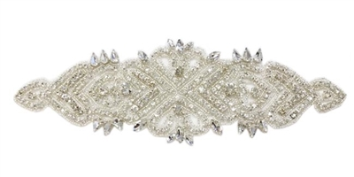 RHS-APL-808-SILVER.  Sew-On Clear Crystal Rhinestone Applique - On Net - Silver Beads - 11 X 3.5 Inches